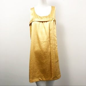 Vintage Mod 60s Gold Satin Dress - Size Medium